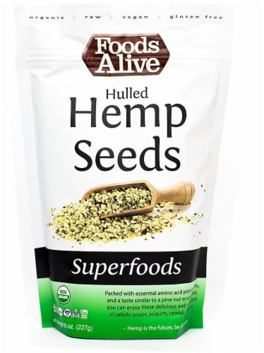 Foods Alive  Organic Superfoods Hulled Hemp Seeds Raw Perspective: front
