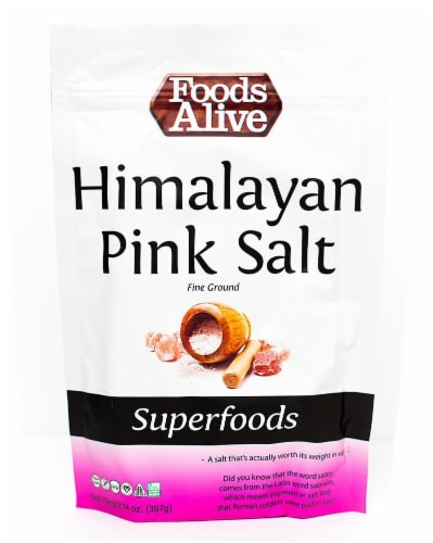 Foods Alive  Himalayan Pink Salt Fine Ground Perspective: front
