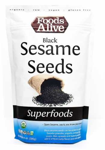Foods Alive  Organic Superfoods Black Sesame Seeds Perspective: front