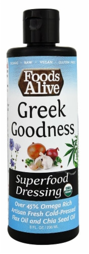 Foods Alive  Organic Superfood Dressing   Greek Goodness Perspective: front