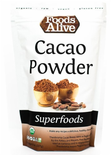 Foods Alive  Organic Superfoods Cacao Powder Raw Perspective: front