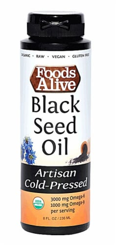 Foods Alive  Organic Black Seed Oil Cold-Pressed Perspective: front