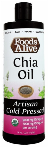 Foods Alive Organic Artisan Cold-Pressed Chia Oil Perspective: front