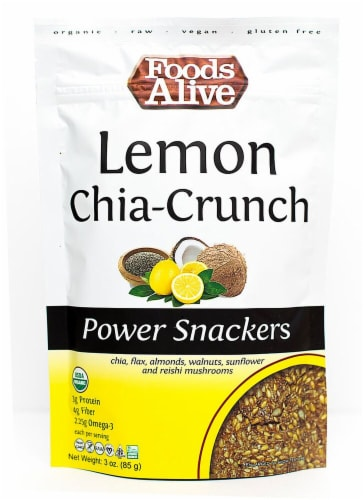 Foods Alive  Organic Power Snackers   Lemon Chia-Crunch Perspective: front