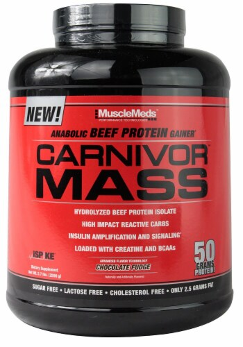 MuscleMeds  Carnivor Mass   Chocolate Fudge Flavored Protein Powder Perspective: front