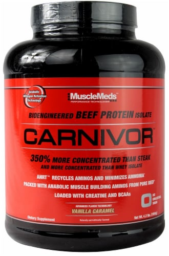 MuscleMeds  Carnivor   Vanilla Caramel Flavored Protein Powder Perspective: front