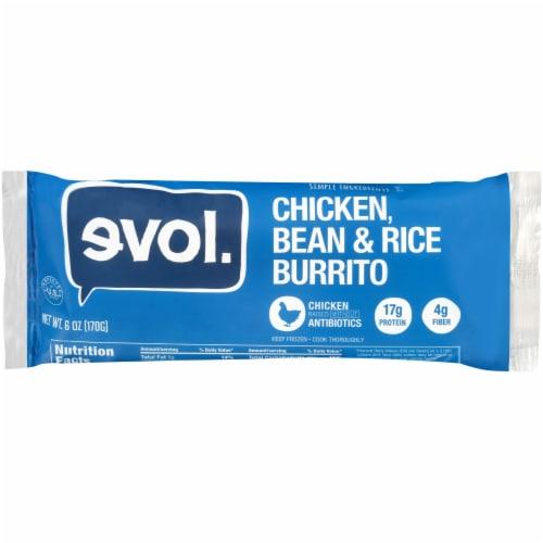 Evol Chicken Bean & Rice Burrito Perspective: front