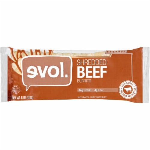 Evol Shredded Beef Burrito Perspective: front