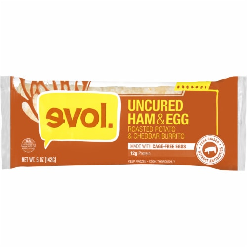 Evol Uncured Ham & Egg Burrito Perspective: front
