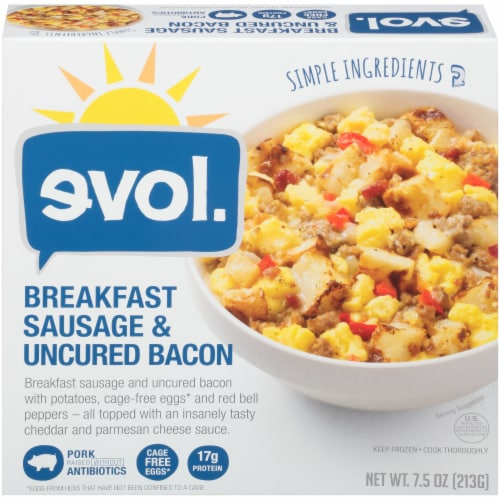 evol. Breakfast Sausage and Uncured Bacon Perspective: front