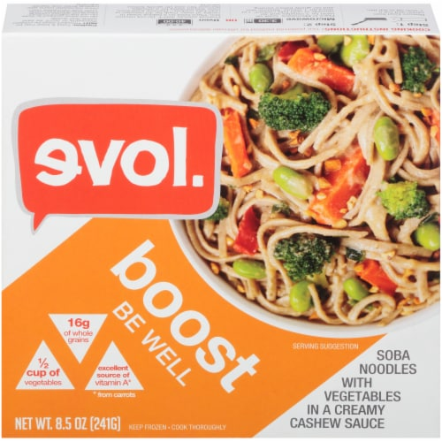 Evol Boost Be Well Soba Noodles and Vegetables Bowl Perspective: front
