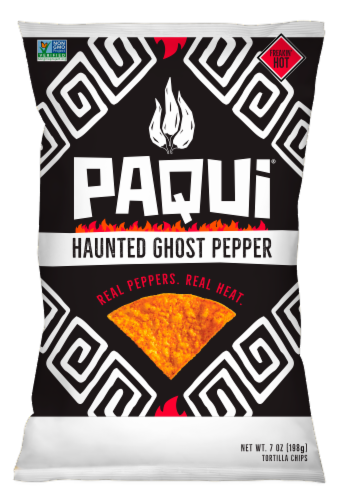 Paqui Haunted Ghost Pepper Tortilla Chips Perspective: front