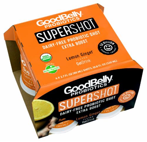GoodBelly Probiotics Organic SuperShot Lemon Ginger Oat Drink Perspective: front