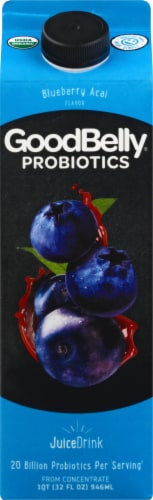 GoodBelly Blueberry Acai Fruit Juice Perspective: front