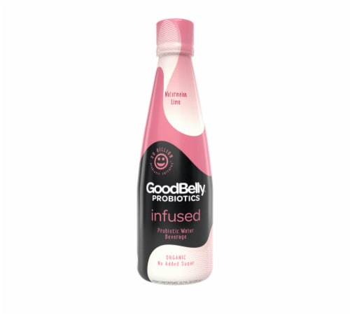 GoodBelly Organic Watermelon Lime Probiotic Infused Water Beverage Perspective: front