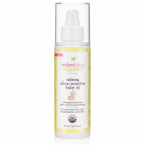 Mambino Organics  Fresh Baby Calming Ultra-Sensitive Baby Oil with Jojoba & Primrose Ages 0+ Perspective: front