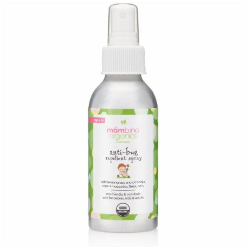 Mambino Organics  Fresh Baby Anti-Bug Repellent Spray with Lemongrass and Citronella Ages 0+ Perspective: front