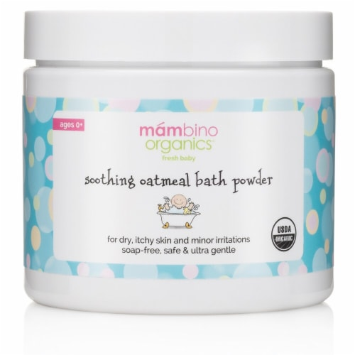 Mambino Organics  Fresh Baby Soothing Oatmeal Bath Powder Ages 0+ Perspective: front