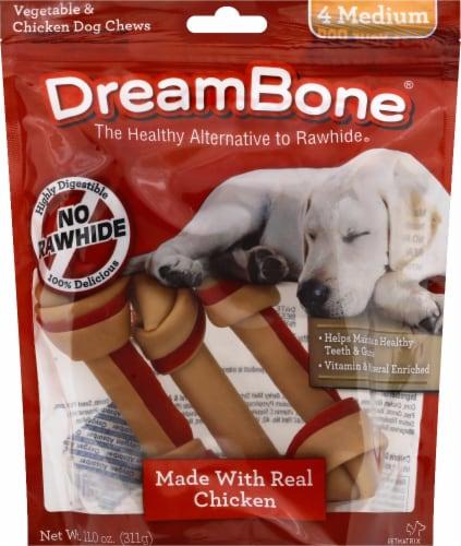 DreamBone Medium Vegetable & Chicken Dog Chews Perspective: front