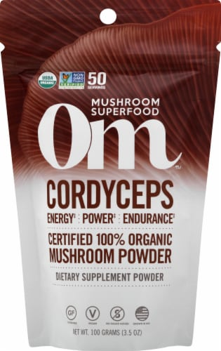 OM  Organic Cordyceps Mushroom Nutrition Supplement Powder Perspective: front