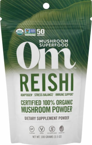 Om Organic Reishi Mushroom Nutrition Supplement Powder Perspective: front