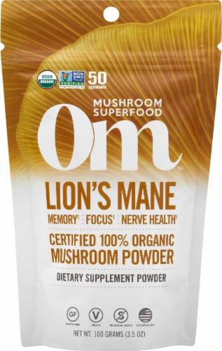 Om Organic Lions Mane Mushroom Nutrition Supplement Powder Perspective: front