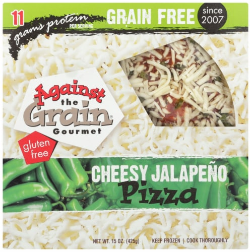 Against the Grain Gourmet Cheesy Jalapeno Gluten Free Pizza Perspective: front