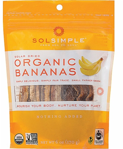 Sol Simple Organic Solar-Dried Bananas Perspective: front
