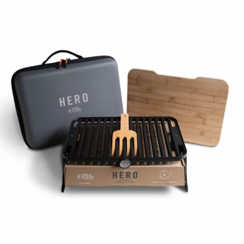 Fire & Flavor HERO Portable Charcoal Grill System Perspective: front