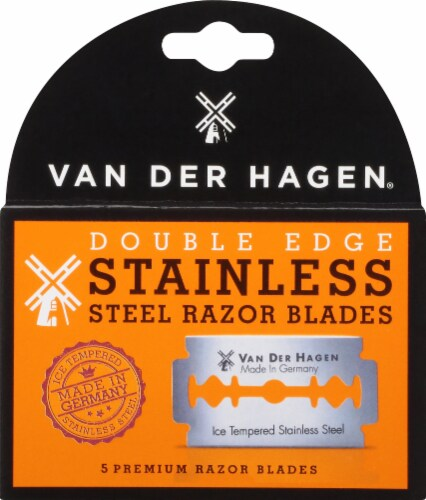 Van Der Hagen Stainless Steel Traditional Safety Razor Blades Perspective: front