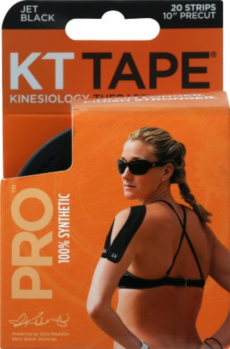 KT Tape Pro Jet Black Therapeutic Tape Strips Perspective: front