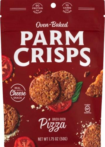 ParmCrisps Oven Baked Pizza Parmesan Keto Crisps Snacks Perspective: front