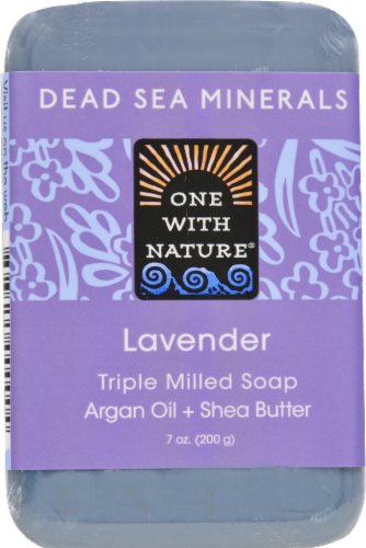 One With Nature Dead Sea Salt Lavender Soap Perspective: front