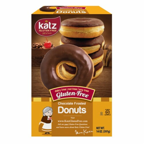 Katz Gluten Free Chocolate Frosted Donuts Perspective: front