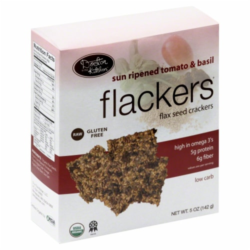 Doctor in the Kitchen Flackers Tomato & Basil Flax Seed Crackers Perspective: front