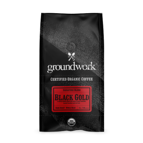Groundwork Black Gold Whole Bean Coffee Perspective: front