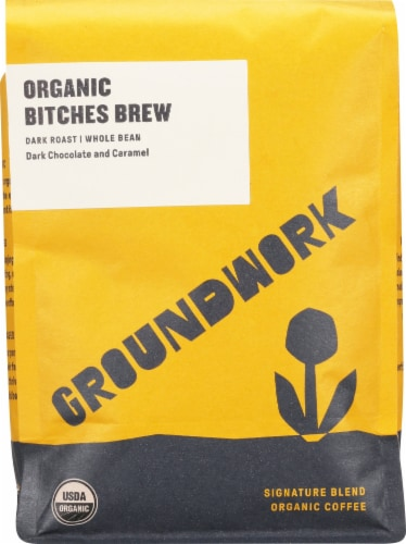 Groundwork Organic Bitches Brew Dark Roast Whole Bean Coffee Perspective: front