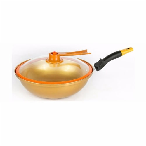 Tayama TWG-32 20 x 13 x 5 in. 32 cm Non Stick Ceramic Golden Wok Perspective: front