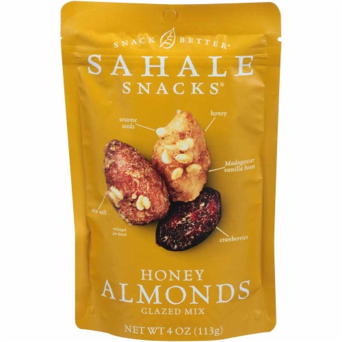 Sahale Snacks Crunchers, Almonds with Cranberries, Sesame Seeds + Honey, 4 oz Perspective: front