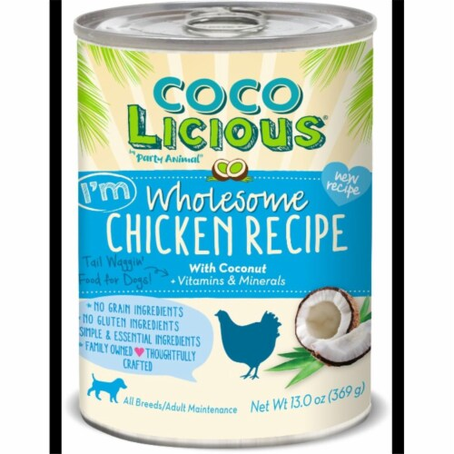 Party Animal PA00192 13 oz Cocolicious Chicken Recipe Grain-Free Canned Dog Food Perspective: front