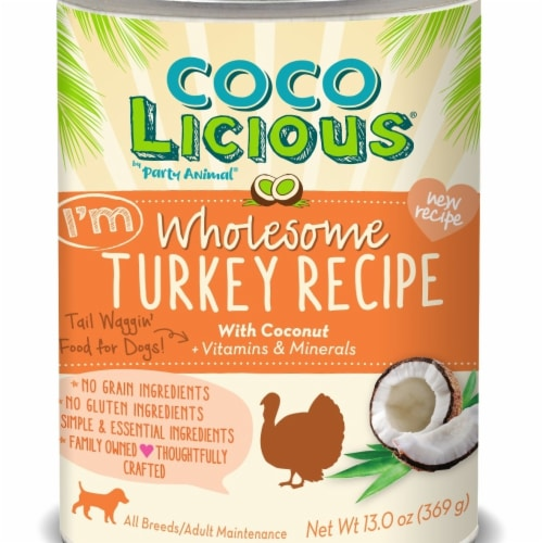 Party Animal PA00196 13 oz Cocolicious Turkey Recipe Grain-Free Canned Dog Food Perspective: front