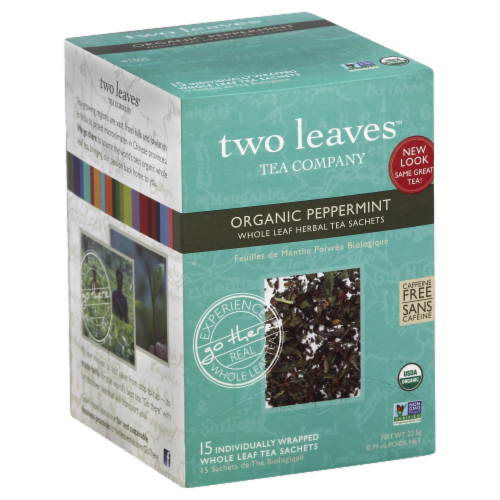 Two Leaves Organic Peppermint Tea Sachets Perspective: front