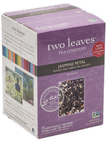 Two Leaves Jasmine Petal Whole Leaf Green Tea Sachets Perspective: front