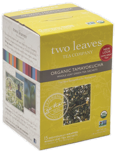 Two Leaves & A Bud Organic Tamayokucha Tea Bags Perspective: front