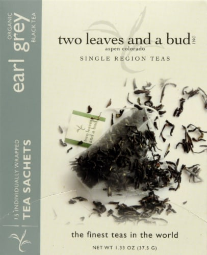 Two Leaves Organic Earl Grey Black Tea Sachets Perspective: front