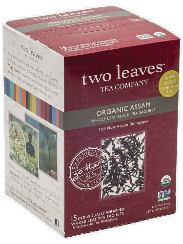Two Leaves Organic Assam Whole Leaf Black Tea Sachets Perspective: front