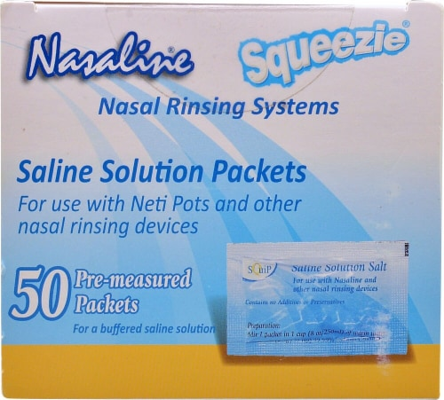 Nasaline  Squeezie Saline Solution Packets Perspective: front