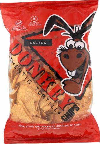 Donkey Salted Authentic Tortilla Chips Perspective: front
