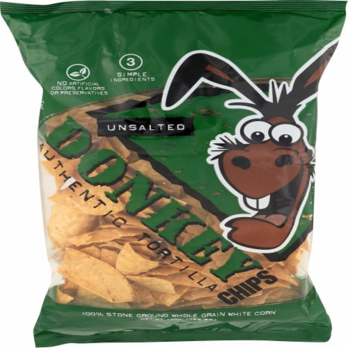 Donkey Unsalted Authentic Tortilla Chips Perspective: front