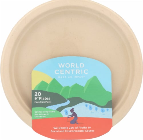 World Centric 9'' Compostable Plates Perspective: front